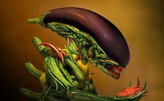Salad alien made out of vegetables